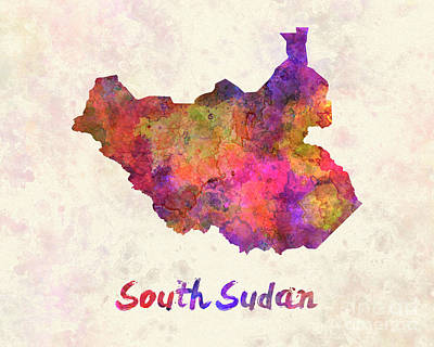 South Sudan In Watercolor Poster