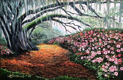 Poster featuring the painting Southern Charm Oak And Azalea by Patricia L Davidson