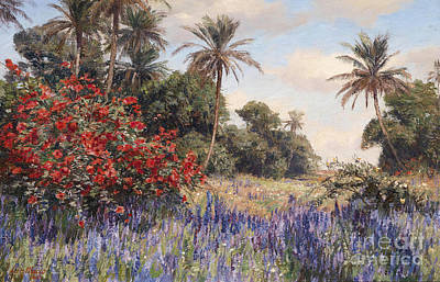 Southern Landscape With Lavender Poster
