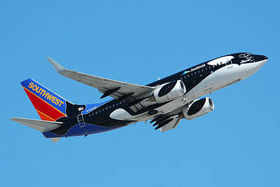 Southwest Boeing 737 Shamu At Sky Harbor April 13 2006 Poster by Brian Lockett