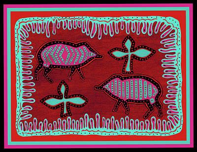 Poster featuring the digital art Southwest Desert Javelina by Vagabond Folk Art - Virginia Vivier