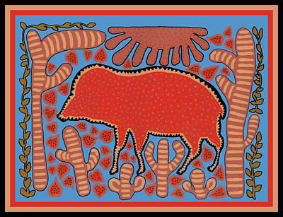 Poster featuring the digital art Southwest Desert Wart Hog by Vagabond Folk Art - Virginia Vivier
