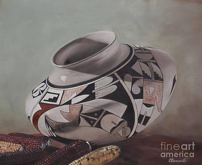 Southwest Indian Pot Poster by Barbara Barber