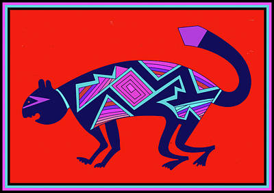 Poster featuring the digital art Southwest Mimbres Feline by Vagabond Folk Art - Virginia Vivier