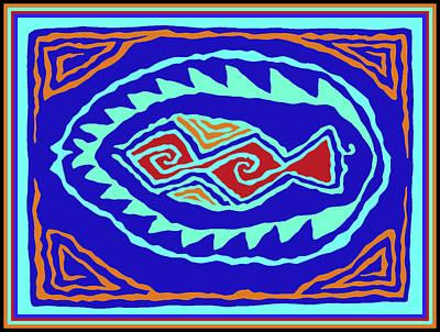 Poster featuring the digital art Southwest Pescado by Vagabond Folk Art - Virginia Vivier
