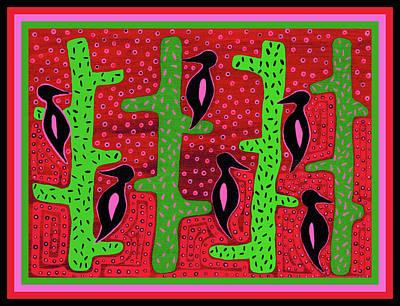 Poster featuring the digital art Southwest Saguaro Birds by Vagabond Folk Art - Virginia Vivier