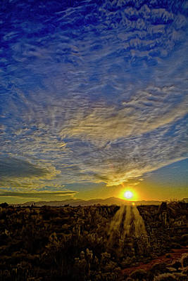 Poster featuring the digital art Southwest Sunset Op40 by Mark Myhaver