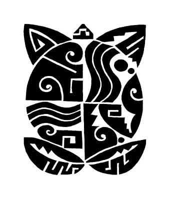 Poster featuring the digital art Southwest Tribal Tortuga by Vagabond Folk Art - Virginia Vivier