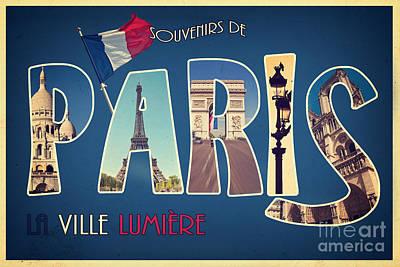 Souvernirs De Paris Poster by Delphimages Photo Creations
