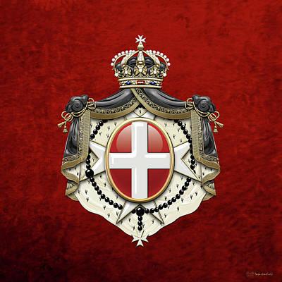 Sovereign Military Order Of Malta Coat Of Arms Over Red Velvet Poster