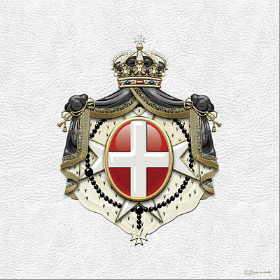 Sovereign Military Order Of Malta Coat Of Arms Over White Leather Poster by Serge Averbukh