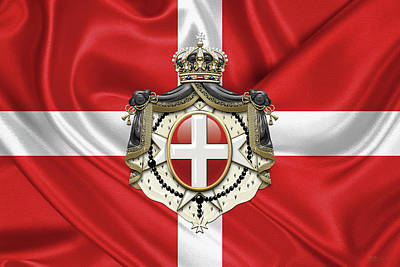 Sovereign Military Order Of Malta - S M O M Coat Of Arms Over Flag Poster
