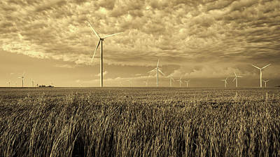 Soybeans And Turbines Poster by Mountain Dreams