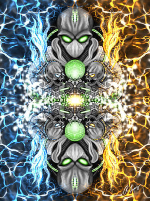 Space Alien Time Machine Fantasy Art Poster