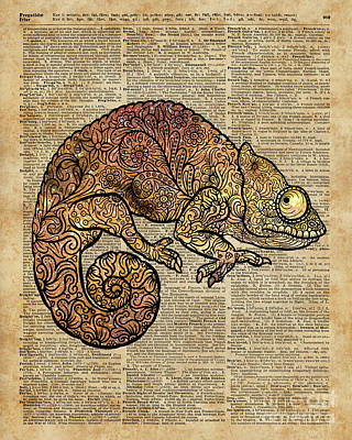 Space Chameleon Zentagle Dictionary Art Poster by Jacob Kuch