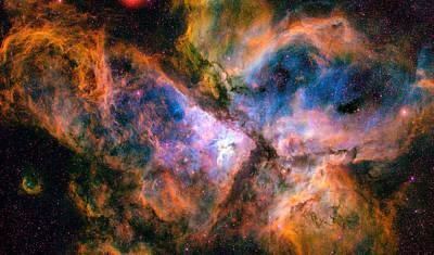 Space Image Carina Nebula Orange Red Blue Poster