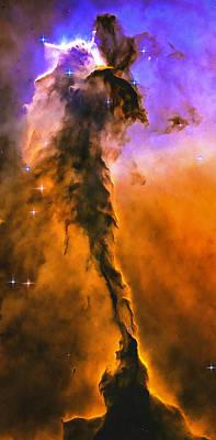 Space Image Eagle Nebula Orange Purple Bue Poster