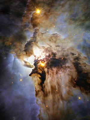 Space Image Lagoon Nebula Orange Brown Blue Poster