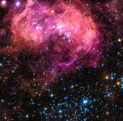 Space Image Large Magellanic Cloud Pink Blue Black Poster