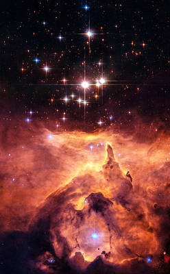 Space Image Orange And Red Star Cluster With Blue Stars Poster