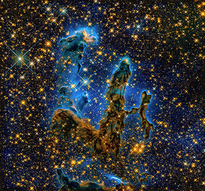 Space Image Pillars Of Creation Infrared Light Poster