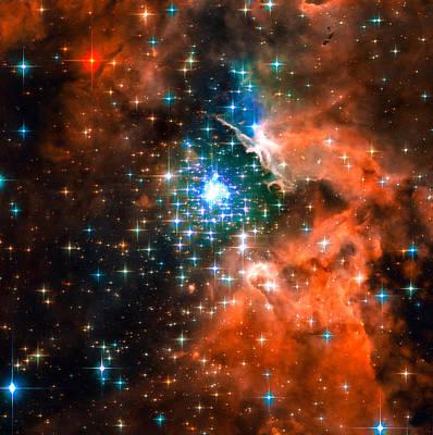 Space Image Star Cluster Orange Blue Poster