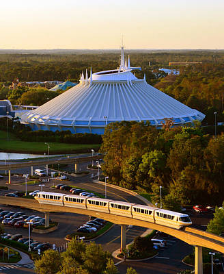 Space Mountain And Monorail Peach Poster