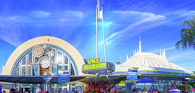 Poster featuring the photograph Space Mountain Entrance Panorama by Mark Andrew Thomas