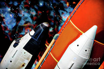 Poster featuring the digital art Space Shuttle by Ray Shiu