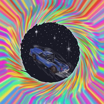 Poster featuring the painting Space Truck'n by Kevin Caudill