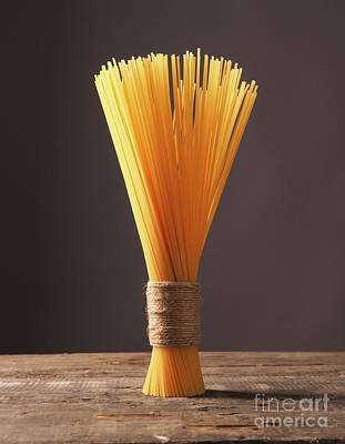 Spaghetti On A Wooden Table Poster by Andreas Berheide