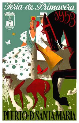 Spain 1953 Puerto De Santa Maria Spring Fair Poster Poster