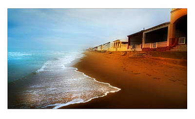Spanish Beach Chalets Poster by Mal Bray