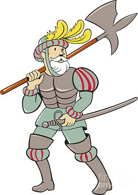Spanish Conquistador Ax Sword Cartoon Poster by Aloysius Patrimonio