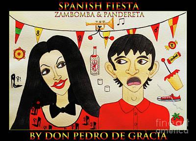 Spanish Fiesta Zambomba And Panderetta Poster by Don Pedro De Gracia