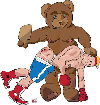 Spanking Bear Poster by Mon Graffito