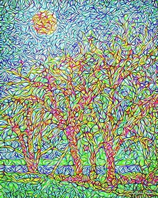 Poster featuring the digital art Sparkling Lakeside Trees - Park In Boulder County Colorado by Joel Bruce Wallach