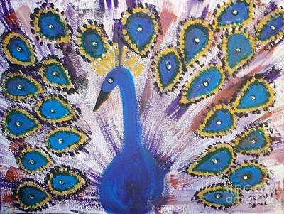 Sparkling Purple Peacock Poster