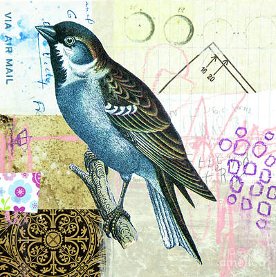 Poster featuring the mixed media Sparrow by Elena Nosyreva