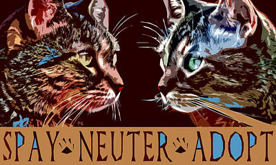Spay Neuter Adopt Poster by David G Paul