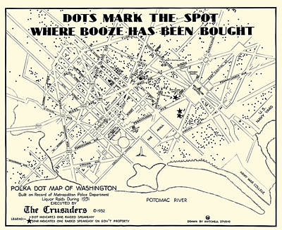 Speakeasy Prohibition Map Of Washington D. C.  1932 Poster