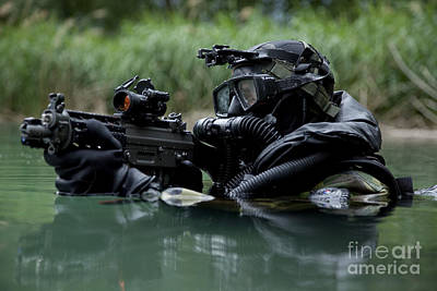 Special Forces Combat Diver Takes Poster by Tom Weber