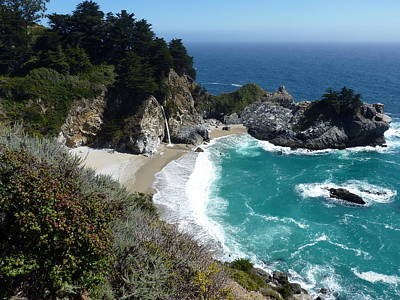 Spectacular Mcway Falls In Julia Pfeiffer Burns State Park Poster by Carla Parris