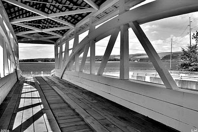 Spectacular View From Osterburg-bowser Covered Bridge Black And White Poster by Lisa Wooten