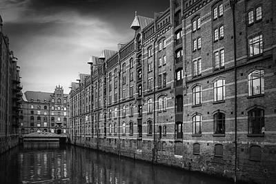 Speicherstadt Hamburg Germany In Black And White Poster