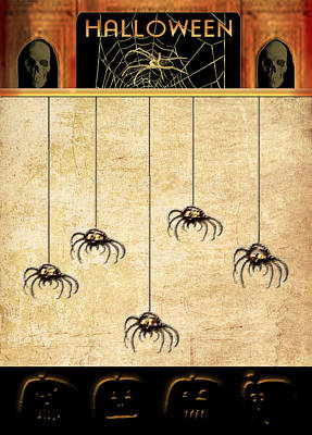 Spiders For Halloween Poster by Arline Wagner