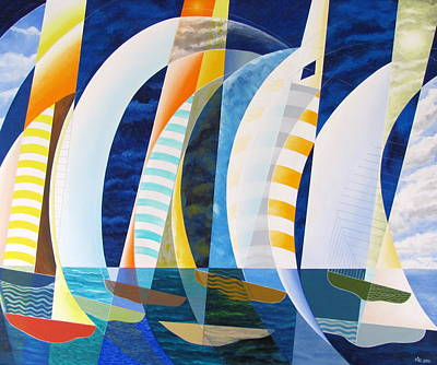 Poster featuring the painting Spinnakers Up by Douglas Pike