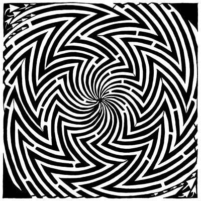 Spinning Optical Illusion Maze Poster by Yonatan Frimer Maze Artist