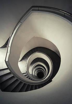 Spiral Staircase In Beige Tones Poster by Jaroslaw Blaminsky