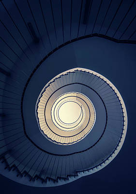 Poster featuring the photograph Spiral Staircase In Blue And Cream Tones by Jaroslaw Blaminsky